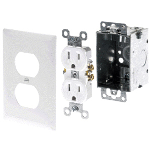 DUPLEX OUTLET POWER KIT WHITE